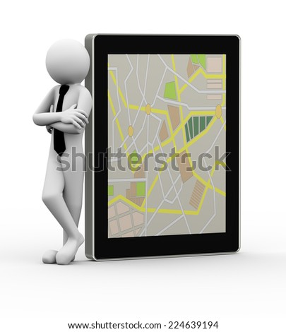 3d rendering of business person standing with touchscreen tablet displaying gps. 3d white people man character. - stock photo