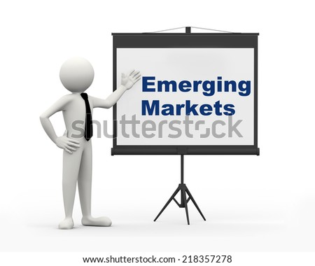 3d rendering of business person with tripod projector screen presenting concept of emerging markets. 3d white people man character - stock photo