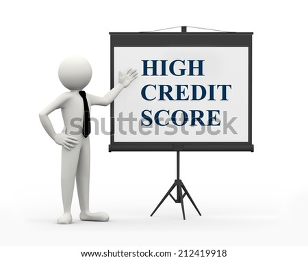 3d rendering of business person with tripod projector screen presenting concept of high credit score. 3d white people man character - stock photo
