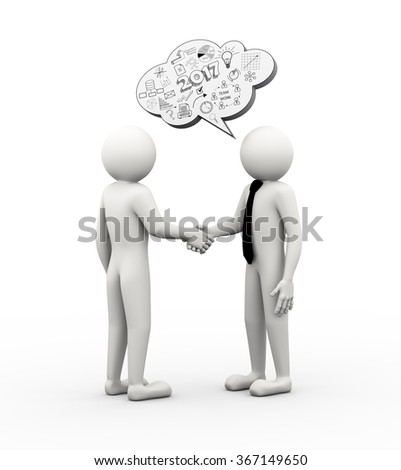 3d rendering of businessman handshake and bubble speech of business hand drawn drawing sketch of new year 2017. - stock photo