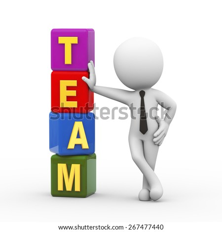 3d rendering of businessman standing with team cubes.  3d white person people man - stock photo