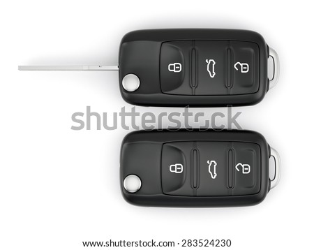 3d rendering of car keys isolated on white background  - stock photo