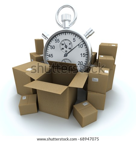 3D rendering of cardboard boxes and a chronometer - stock photo