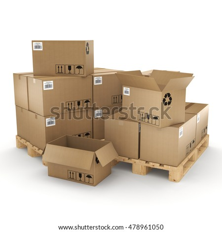 3D rendering of cardboard boxes on a pallet