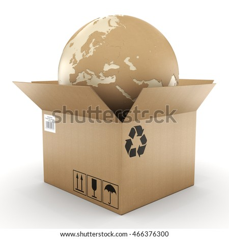 3D rendering of cardboard boxes with the planet