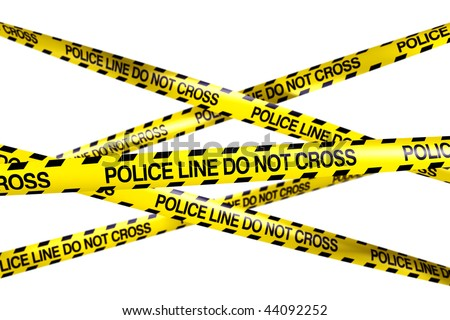 3d rendering of caution tape with POLICE LINE DO NOT CROSS written on it - stock photo