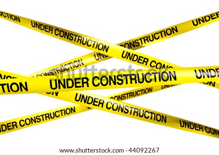 3d rendering of caution tape with UNDER CONSTRUCTION written on it - stock photo