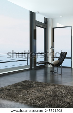 3D Rendering of Chair overlooking the ocean through a floor-to-ceiling glass wall in a modern coastal living room with a balcony and door with a beige rug on the floor - stock photo