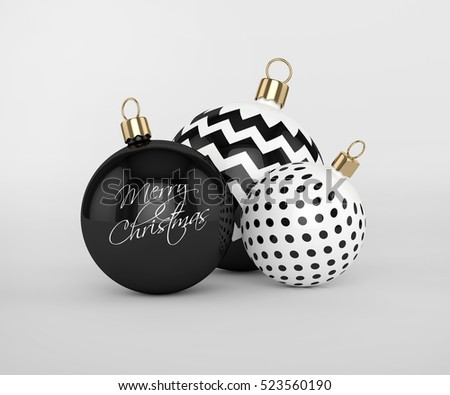 3d rendering of christmas, black and white baubles over gray background