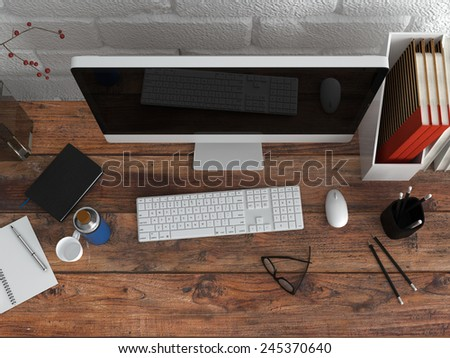3D Rendering of Close up Aerial Shot of Wooden Worktable with Computer, Eyeglasses and Writing Supplies. - stock photo