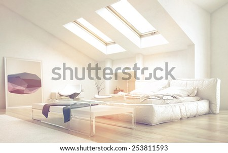 3D Rendering of Close up Architectural Bedroom with Glass Table and White Furniture Illuminated with Sunlight from Glass Ceiling.