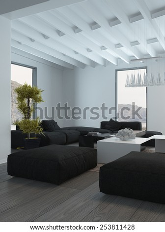 3D Rendering of Close up Black and White Furniture Inside a Lounge Room with fresh Green Plant. - stock photo
