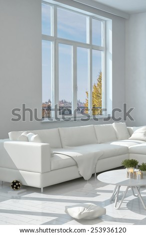 3D Rendering of Close up Elegant White Long Sofa at the Living Room Near the Glass Window - stock photo
