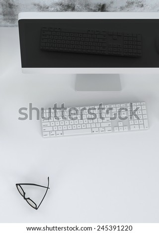 3D Rendering of Close up high angle view of a modern workstation in an office or study with a desktop computer, keyboard and spectacles on a light grey desk - stock photo
