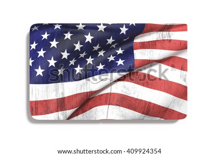 3d rendering of close-up of puzzle set with american flag print on white background. Isolated - stock photo