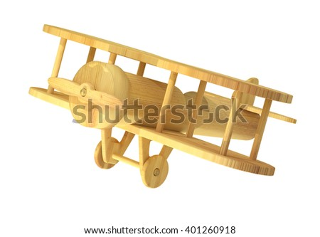 3d rendering of close-up of wooden plane on white background. Isolated - stock photo