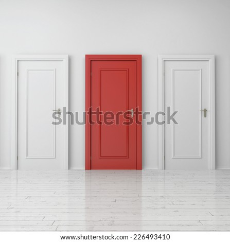 3d Rendering of Close up Red Single Door Between Two White Doors on Plain Wall Inside the Building. - stock photo