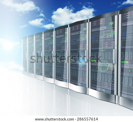 3d rendering of cloud computing and computer networking concept. Rows of network servers on blue sky clouds background - stock photo