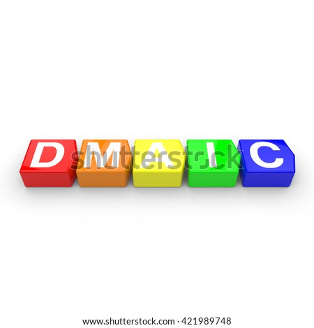 3D rendering of colored arrow shaped blocks with letters that spell the business acronym for Define, Measure, Analyze, Improve and Control on a white background. - stock photo