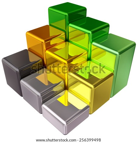3D rendering of colored metal business-bar chart as graph, depicting growth to show profits and success - stock photo