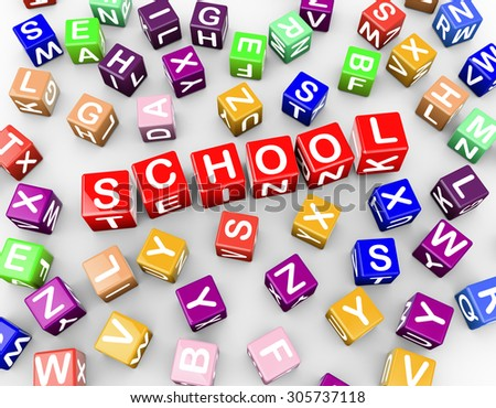 3d rendering of colorful alphabets blocks cubes of word text school - stock photo