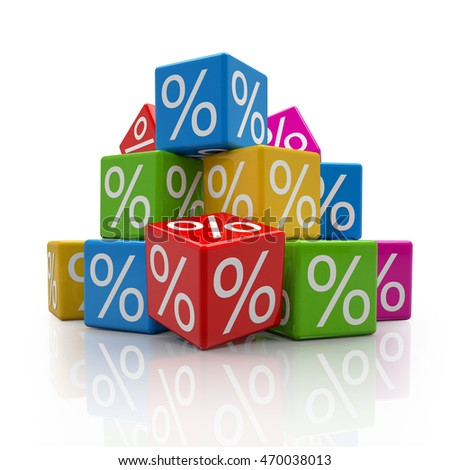 3d rendering of colorful cubes with percent signs on white background (sale concept).