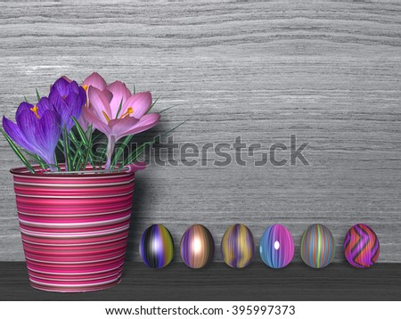 3D rendering of Colorful decorated eggs under a blossomed tree branch