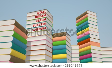 3d rendering of colorful stack of books with motivational words - stock photo