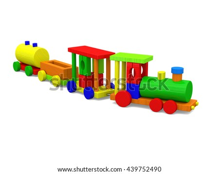 3D rendering of colorful toy train isolated on white background.