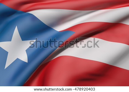 3d rendering of Commonwealth of Puerto Rico flag waving