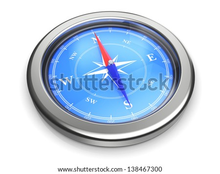 3d rendering of compass over white background