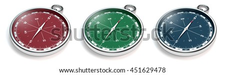 3D rendering of compasses with modern red, green and blue scale isolated on white background - stock photo
