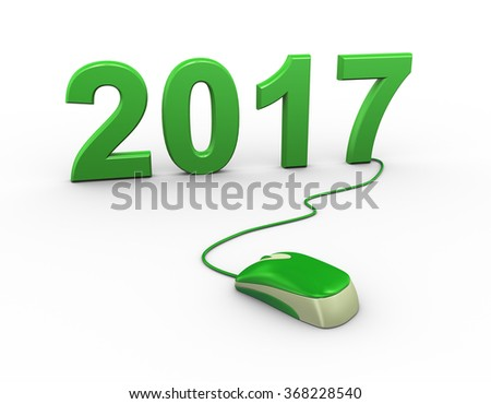 3d rendering of computer mouse connected to happy new year 2017 - stock photo