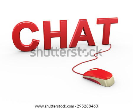 3d rendering of computer mouse connected to word text chat