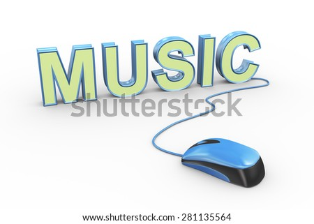 3d rendering of computer mouse connected to word text music