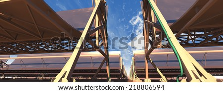 3D rendering of concentrated solar power (CSP) panels in the desert, low camera angle, with a reflected sky. Panoramic/wide image format. - stock photo