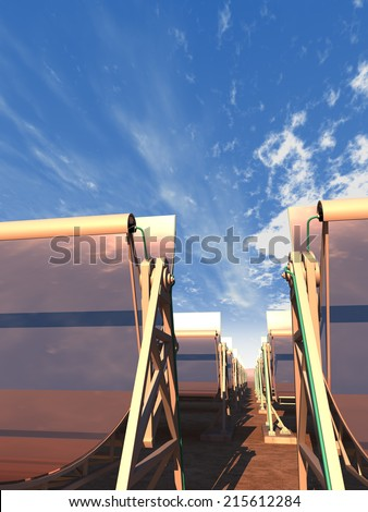 3D rendering of concentrated solar power panels in the desert, low camera angle, with a reflected sky. - stock photo