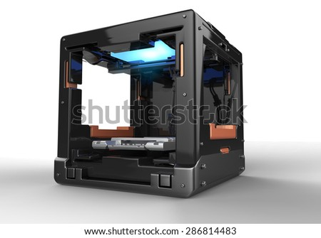 3d rendering  of  conceptual  design 3d printer with clipping path