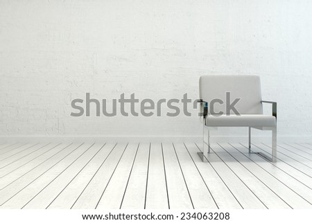 3D Rendering of Conceptual Single Elegant White Chair in an Empty Room with White Wall and Flooring. Captured with Copy Space on the Left Side. - stock photo