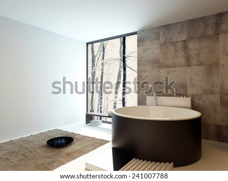 3D Rendering of Contemporary design luxury bathroom interior with a freestanding round brown bathtub against a beige tiled travertine wall with a corner floor-to-ceiling view window