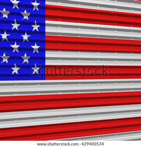 3D rendering of corrugated steel with US flag painted on it.  - stock photo
