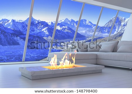 3D rendering of couch and fireplace with scenery view of mountains.  - stock photo