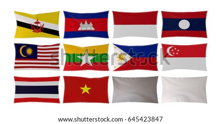 3D rendering of Country flags in South East Asia isolated on white background and Empty white flag with cloth texture