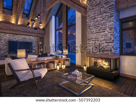 3 D Rendering Cozy Living Room On Stockillustration 507392203 ...