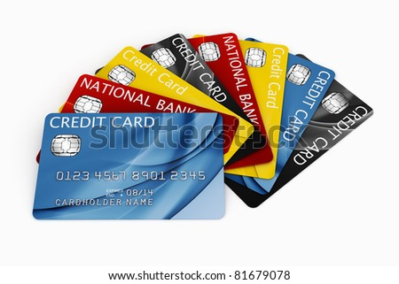 3d rendering of credit cards fanned out - stock photo