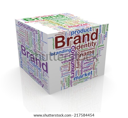 3d rendering of cube box of word tags wordcloud  of brand - stock photo
