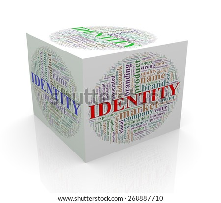 3d rendering of cube box of word tags wordcloud  of identity - stock photo