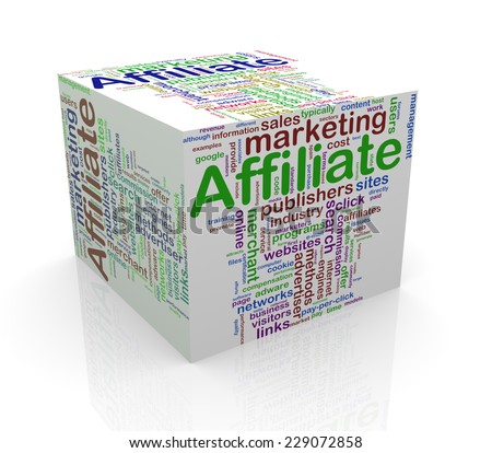 3d rendering of cube box of wordcloud word tags of affiliate marketing - stock photo
