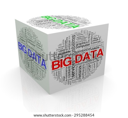 3d rendering of cube box of wordcloud word tags of big data - stock photo
