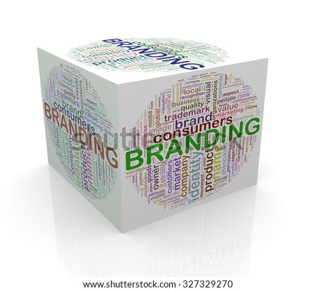 3d rendering of cube box of wordcloud word tags of branding - stock photo